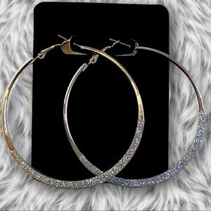 Silver dazzle hoops